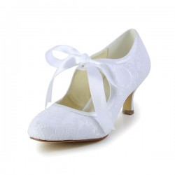 Wedding Shoes Women's Lace Satin Spool Heel Closed Toe Pumps With Ribbon