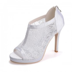 Wedding Shoes Women's Lace Satin Stiletto Heel Peep Toe Platform Sandals