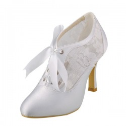 Wedding Shoes Women's Lace Satin Stiletto Heel Boots Pumps