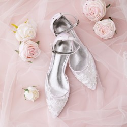 Wedding Shoes Women's Knit Flat Heel Closed Toe Flats With Applique