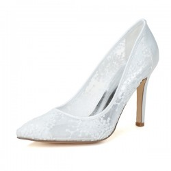 Wedding Shoes Women's Lace Satin Stiletto Heel Closed Toe Pumps With Flower