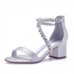 Wedding Shoes Women's Lace Chunky Heel Sandals With Rhinestone Zipper