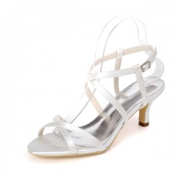 Wedding Shoes Women's Lace Satin Low Heel Sandals With Buckle