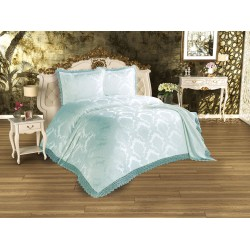 Duvet Cover French Lace Serra Bed Cover Mint