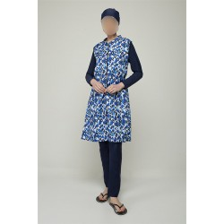 Mayo Burkini Asuman Fully Covered Swimsuit-Navy Blue