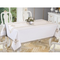Luxury tablecloth Lale Embroidered Lace Tablecloth And Runner 2 Piece