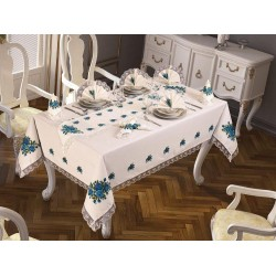Luxury tablecloth Cross-stitch Printed Laced Tablecloth Blue