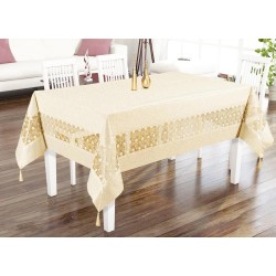Luxury tablecloth Tuana Kdk Lux Intermediate Laced Rectangular Tablecloth Cappuccino