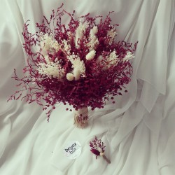 Wedding Bouquet Burgundy Dry Flower Bridal Bouquet