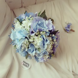 Wedding Bouquet Blue Hydrangea Rose Bride Bridal Flower