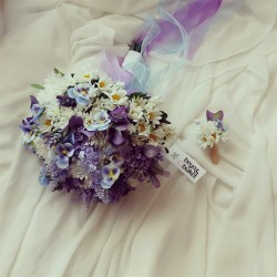 Wedding Bouquet Blue Purple Bridal Flower (Bouquet)