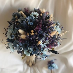 Wedding Bouquet Blue Daisy Bride Flower and Groom Boutonniere